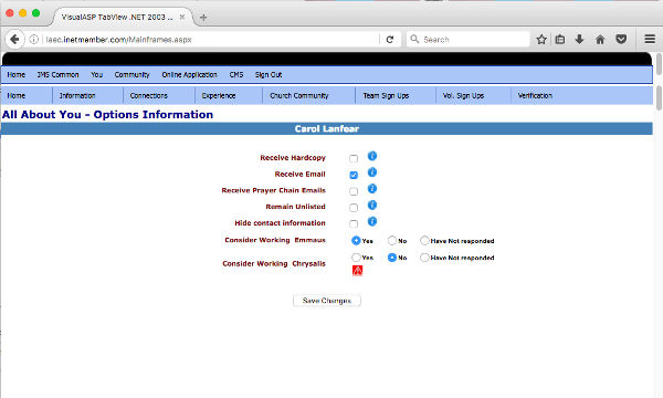 JAEC IMS Credential Information Tab